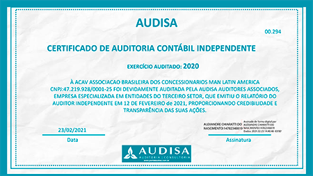 Certificado de auditória contábil - Audisa